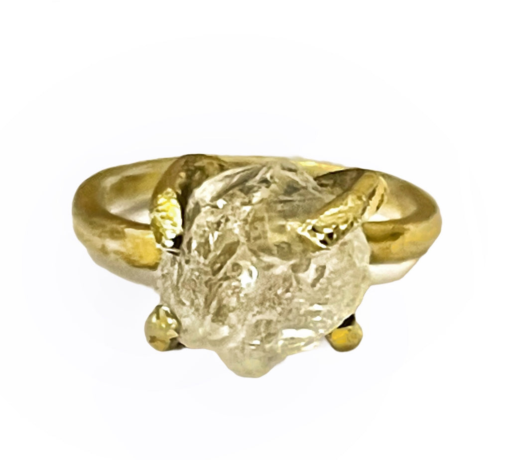 White Quartz Raw Rough Ring 24 K Gold Plating over Silver