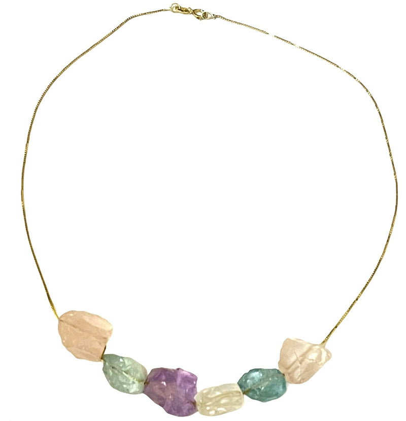 Elegant Crystal Necklace with rough raw stones gold plated over Silver, Made to order, 10 days lead time