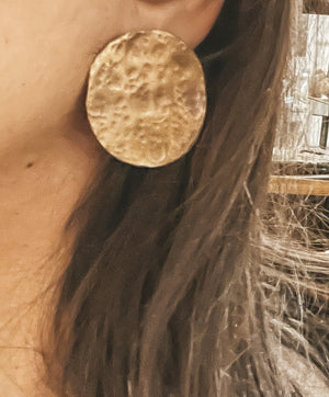 LARGE Luna Full Moon Discs 24K gold plating over 925 Recycled Silver Earrings, Made to order- 10 days lead time