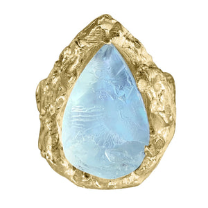 9K Yellow Gold Rough Aquamarine Ring