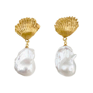 Stunning Shell Baroque Pearl Earrings
