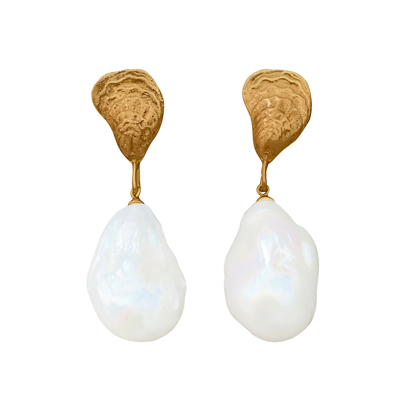 Gorgeous Oyster Baroque Pearl Earrings