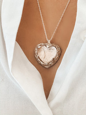 Aphrodite Rough Rose Quartz Heart Necklace