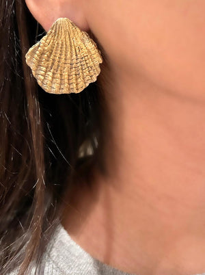 Large Scallop Earrings 24K gold plating over 925 Recycled Silver Earrings, Made to order- 10 days lead time