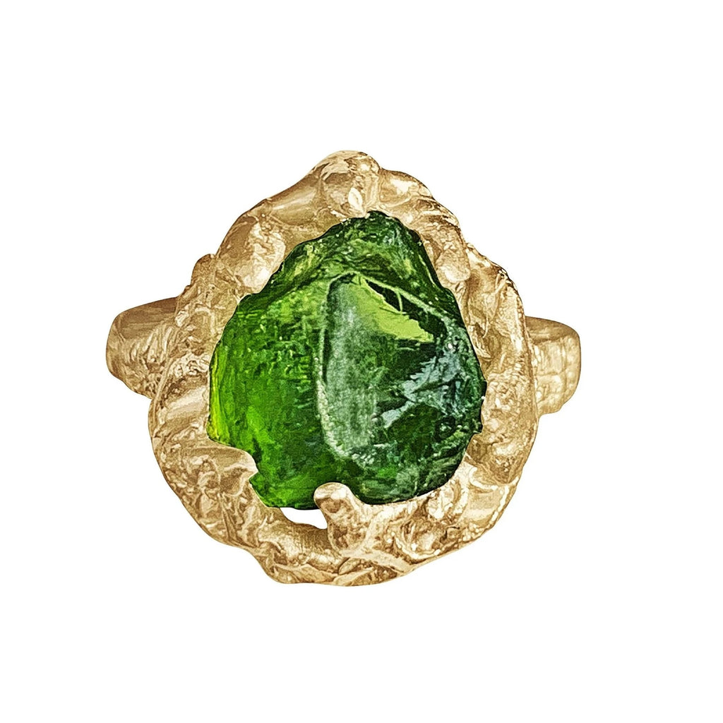 9K Yellow Gold Raw Rough Peridot Ring