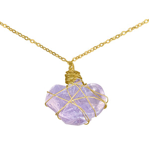 Rough Lavender Quartz Heart Pendant Necklace