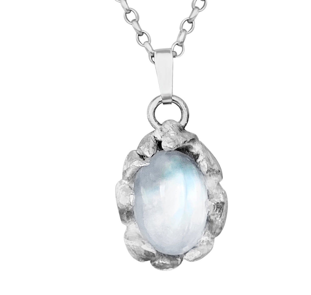 White Moonstone Cabochon Platinum Necklace Pendant PREORDER