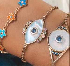 Gold Opal Eye Bracelet with blue sapphires and Iolite
