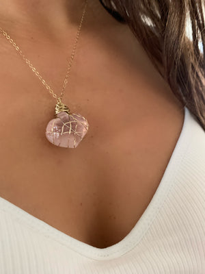 Rough Rose Quartz Heart Pendant Necklace