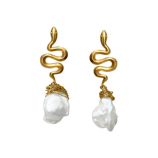 Hydra Snake Pearl Earrings