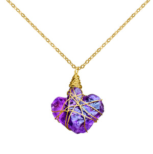 Rough Amethyst Heart Pendant Necklace