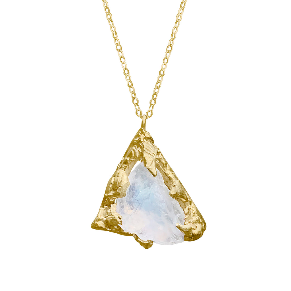 Gold Plated Raw Rough Moonstone Necklace SOLD OUT