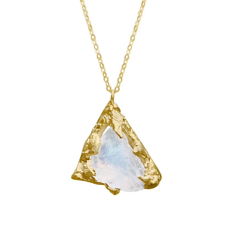 Gold Plated Raw Rough Moonstone Necklace