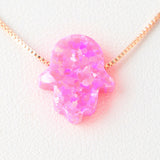 Pink Hamsa Opal Necklace 925 Sterling Silver Chain on 12x9mm Pendant Charm Jewelry