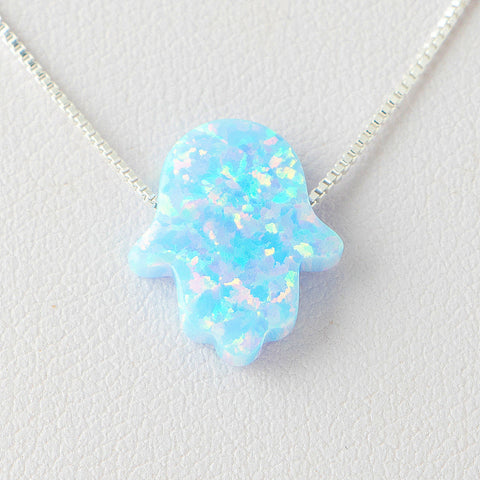 Sky Blue Hamsa Opal Necklace 925 Sterling Silver Chain on 12x9mm Pendant Charm Jewelry