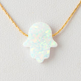 White Hamsa Opal Necklace 925 Sterling Silver Chain on 12x9mm Pendant Charm Jewelry