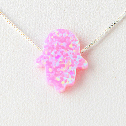 Violet Pink Hamsa Opal Necklace 925 Sterling Silver Chain on 12x9mm Pendant Charm Jewelry