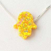 Yellow Hamsa Opal Necklace 925 Sterling Silver Chain on 12x9mm Pendant Charm Jewelry