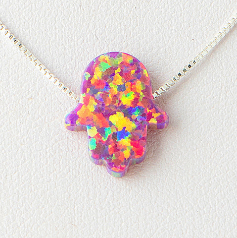 Rainbow Colorful Hamsa Opal Necklace 925 Sterling Silver Chain on 12x9mm Pendant Charm Jewelry