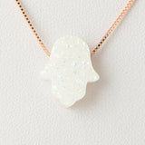 Pearl White Hamsa Druzi Opal Necklace 925 Sterling Silver Chain on 12x9mm Pendant Charm Jewelry