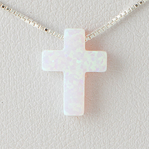 Pearl White Cross Opal Necklace 925 Sterling Silver Chain Pendant Charm Jewelry