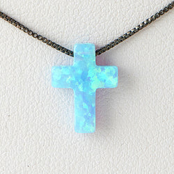 Sky Blue Cross Opal Necklace 925 Sterling Silver Chain Pendant Charm Jewelry