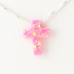 Violet Pink Cross Opal Necklace 925 Sterling Silver Chain Pendant Charm Jewelry