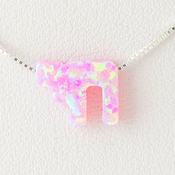Violet Pink Hay Alive Opal Necklace 925 Sterling Silver Chain on 12x9mm Pendant Charm Jewelry