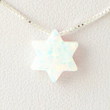Pearl White Star of David Opal Necklace 925 Sterling Silver Chain Pendant Charm Jewelry