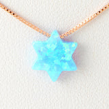 Sky Blue Star of David Opal Necklace 925 Sterling Silver Chain Pendant Charm Jewelry