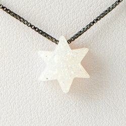 Pearl White Star of David Druzi Opal Necklace 925 Sterling Silver Chain Pendant Charm Jewelry