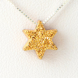 Sparkle Gold Star of David Druzi Opal Necklace 925 Sterling Silver Chain Pendant Charm Jewelry