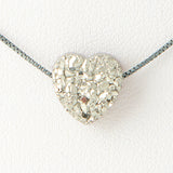 Silver Heart Druzi Opal Necklace 925 Sterling Silver Chain on 12x9mm Pendant Charm Jewelry