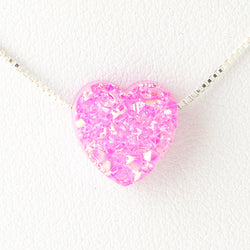 Violet Pink Heart Druzi Opal Necklace 925 Sterling Silver Chain on 12x9mm Pendant Charm Jewelry