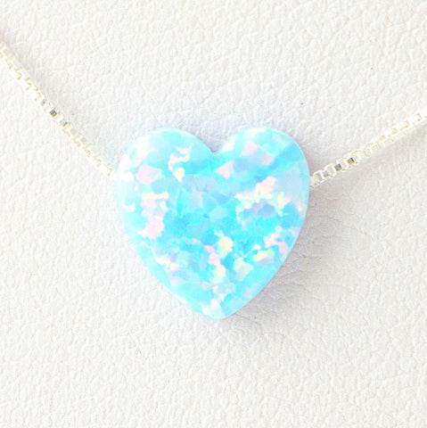 Sky Blue Heart Opal Necklace 925 Sterling Silver Chain on 12x9mm Pendant Charm Jewelry