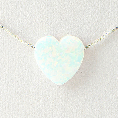 White Heart Opal Necklace 925 Sterling Silver Chain on 12x9mm Pendant Charm Jewelry