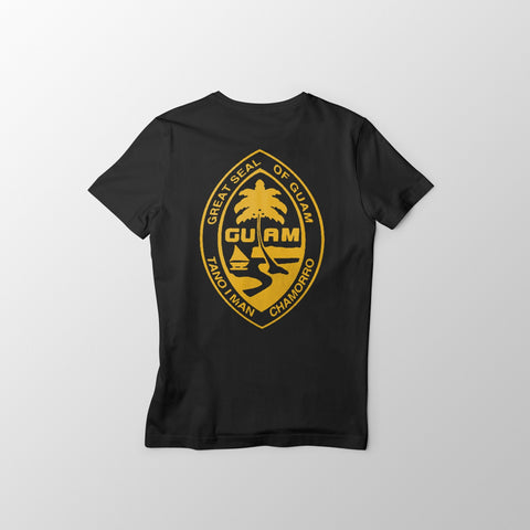 Black and Gold Guam Seal Men's Tee - Guam Shopping Network