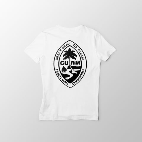 White and Black Guam Seal Men's Tee - Guam Shopping Network
