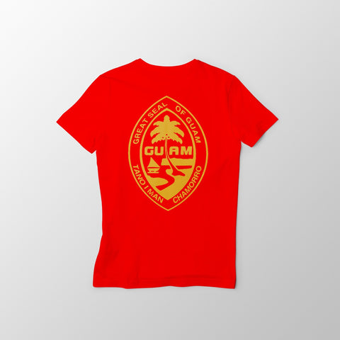 Red and Gold Guam Seal Men's Tee - Guam Shopping Network