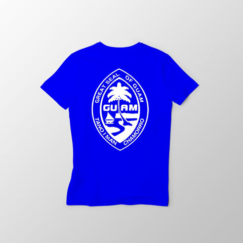 Blue and White Guam Seal Men's Tee - Guam Shopping Network