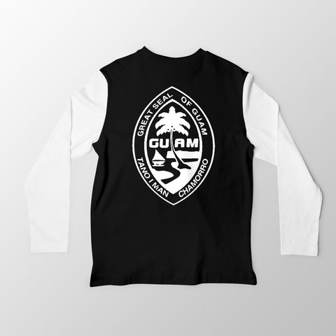 White and Black Guam Seal Jersey Tee. - Guam Shopping Network