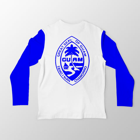 White and Blue Guam Seal Jersey Tee. - Guam Shopping Network