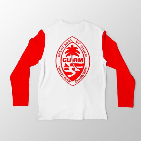 White and Red Guam Seal Jersey Tee. - Guam Shopping Network