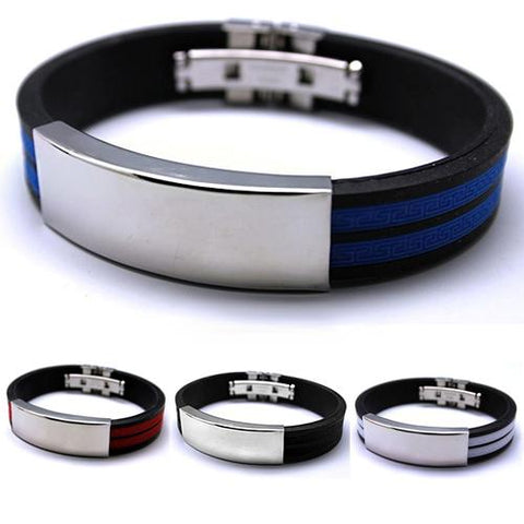 Men's Stainless Steel Rubber Bracelet - Guam Shopping Network