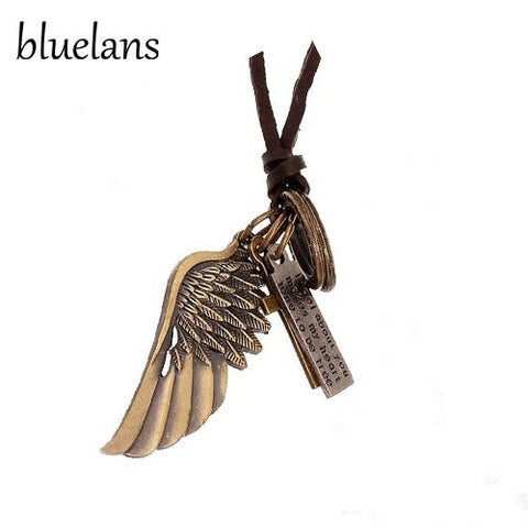 Men's Antique Vintage Angel Wing Leather Necklace - Guam Shopping Network
