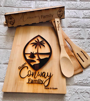 Personalized Gift Set Cutting Board & Utensil Set