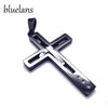 Black Silver Stainless Steel Cross Pendant Necklace - Guam Shopping Network
