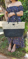 Abaca Large Weave Shopping Tote - Black - Guam Shopping Network