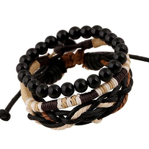 Men's 3 Pcs Wood Beads Knitted Leather Bracelets - Guam Shopping Network