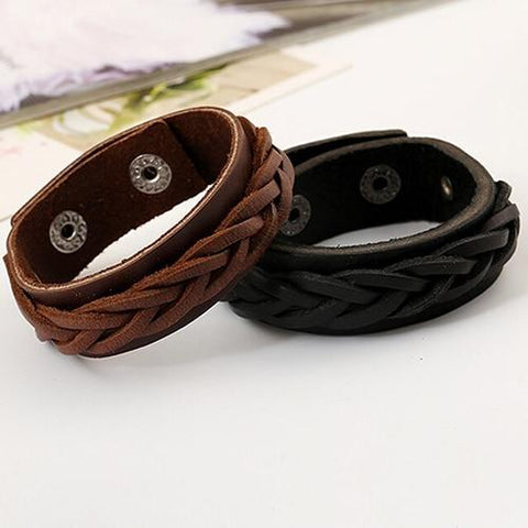 Men's Knitted Leather Bracelet - Guam Shopping Network